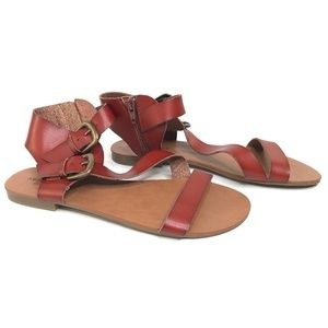 American Eagle Flat Strap Ankle Zip Sandals NWOT